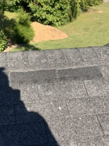 Missing shingles on residential roof