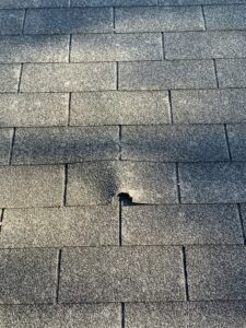 Damaged shingles on residential roof