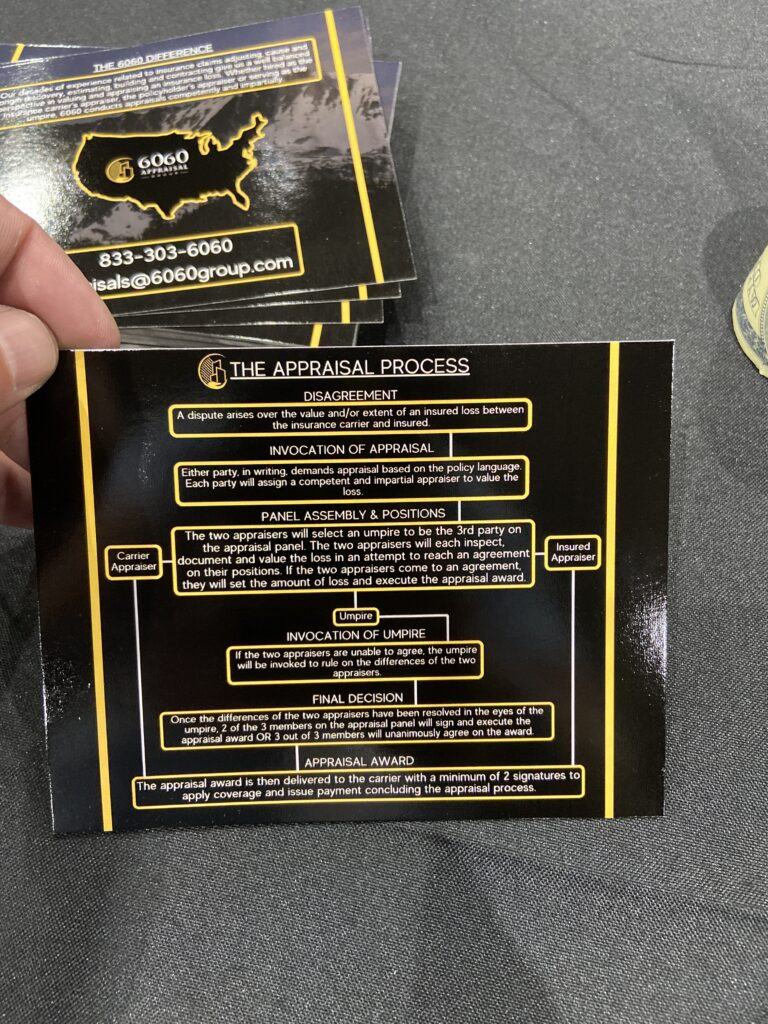 So this is a picture of an appraisal card that is black and talks about the appraisal process for contractors