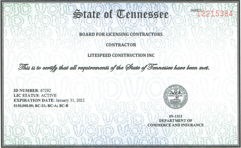Contractors License State of TN