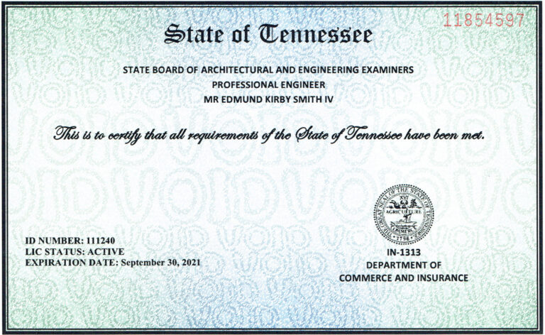 Engineering License State of TN Professional