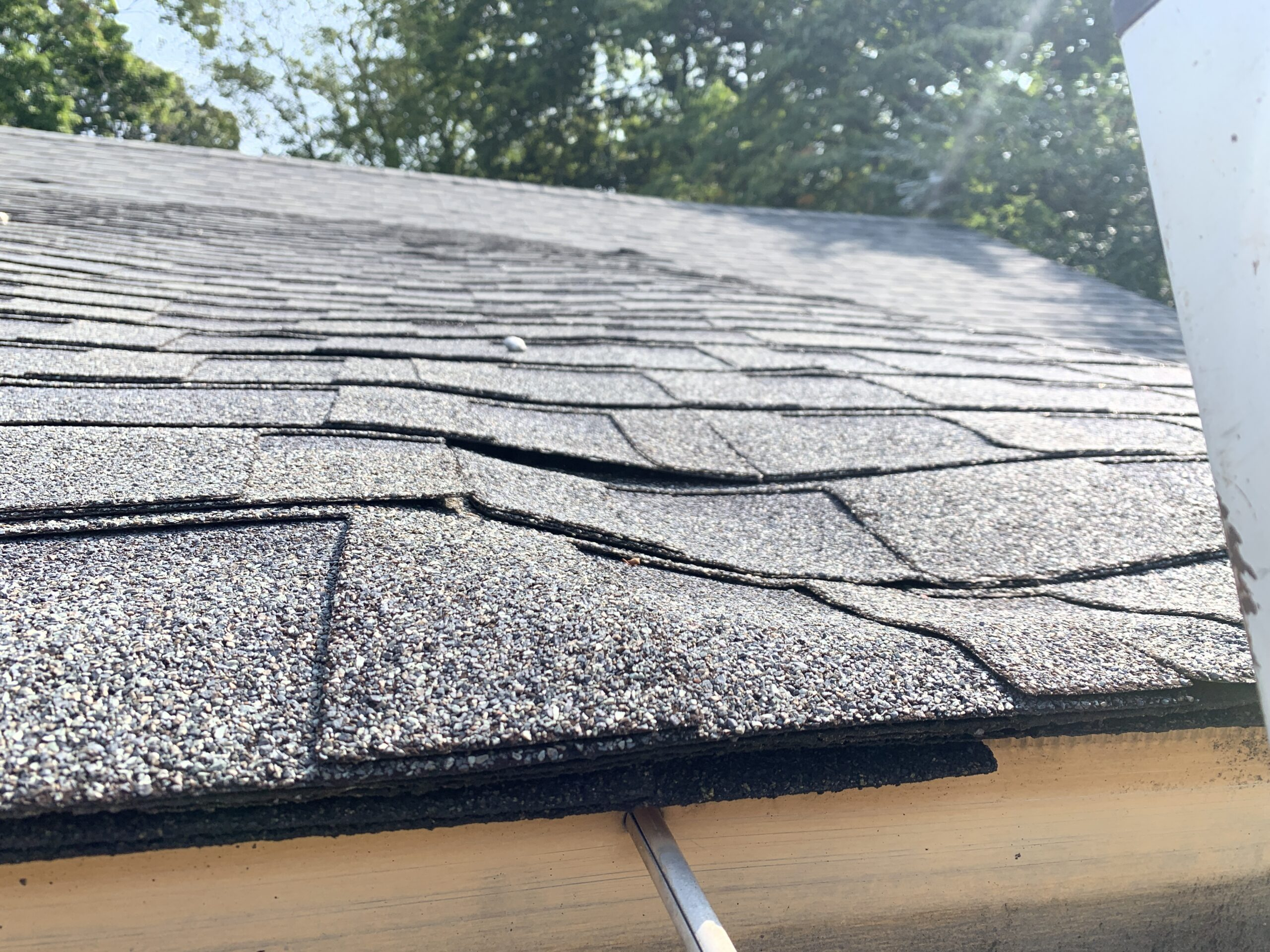 In this photo, you can see that the roof is sagging. This is because the decking underneath the shingles has been exposed to water damage and has softened and rotted the decking underneath. Some boards will need to be replaced