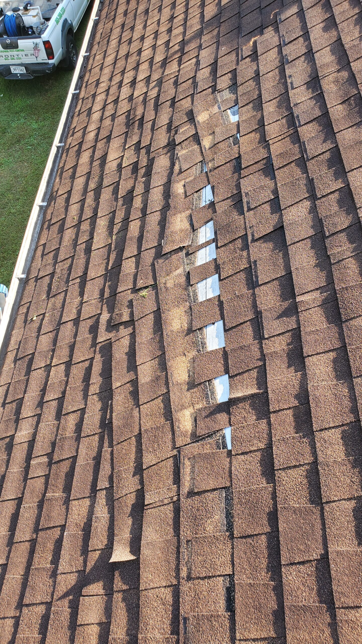 This is a picture of Orange coloured shingles that are beginning to slide off the roof