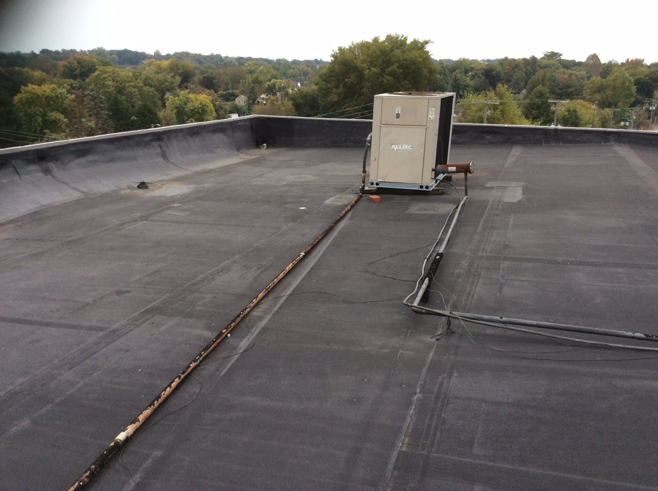 This is a view of black flat roof.