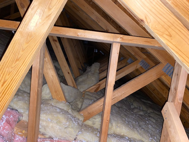 This is the attic where the tubing for the sun tunnel will. E installed