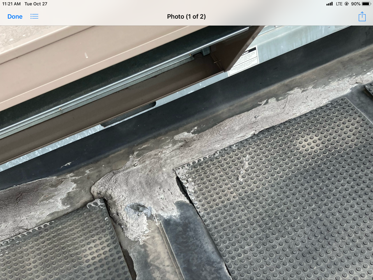 This is a view of the concrete around the A/C Unit on a commercial roof.