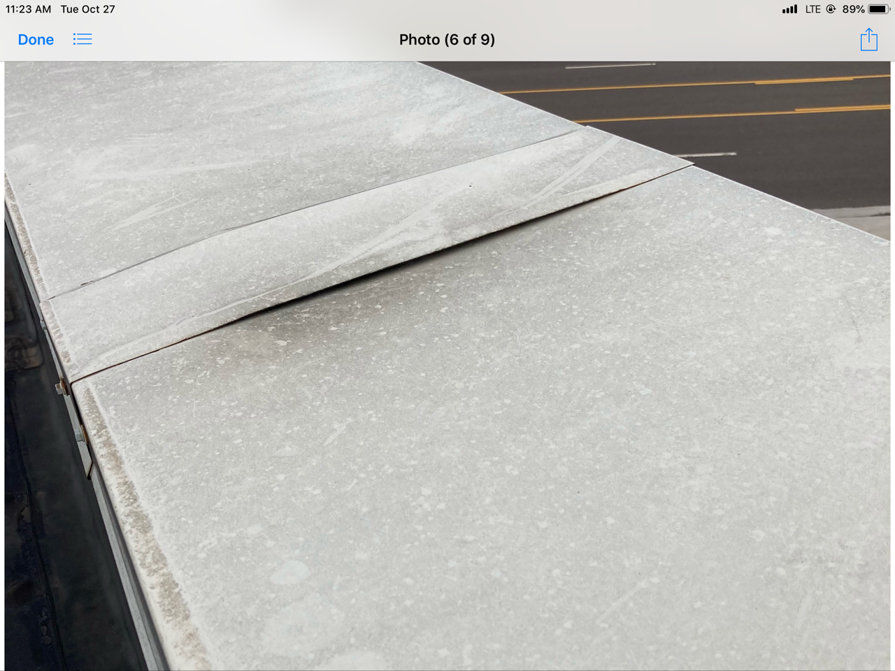 This is a view of a metal curb on a commercial roof.