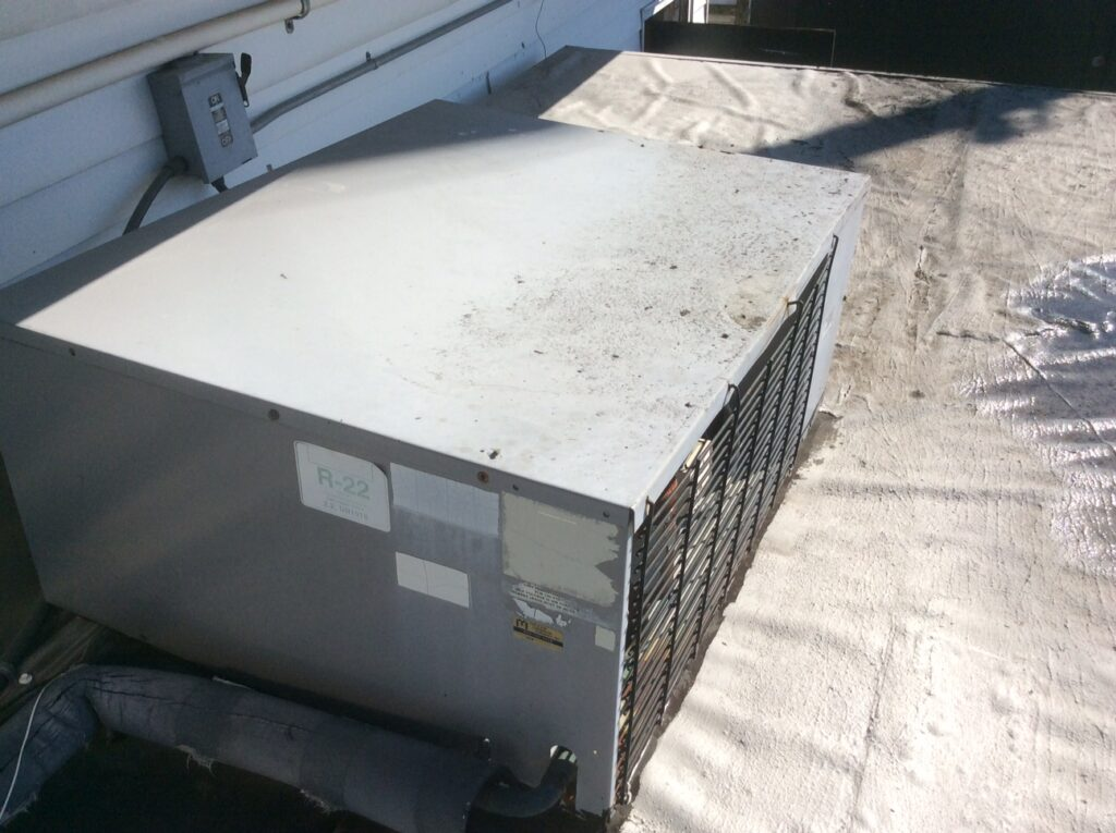 This is a view of a AC Unit on a commercial roof.