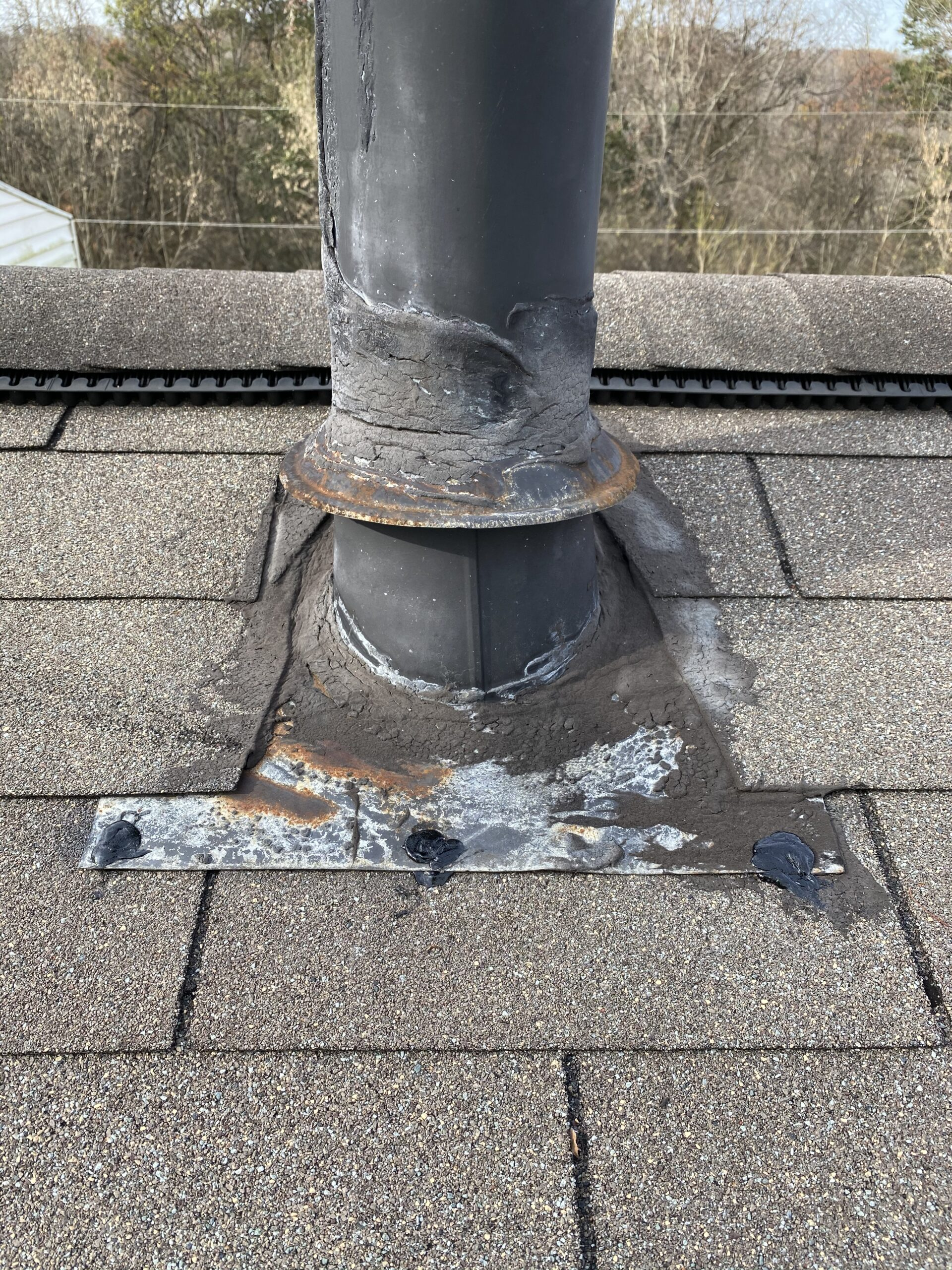 This is a picture of a stove pipe that was completely sealed.