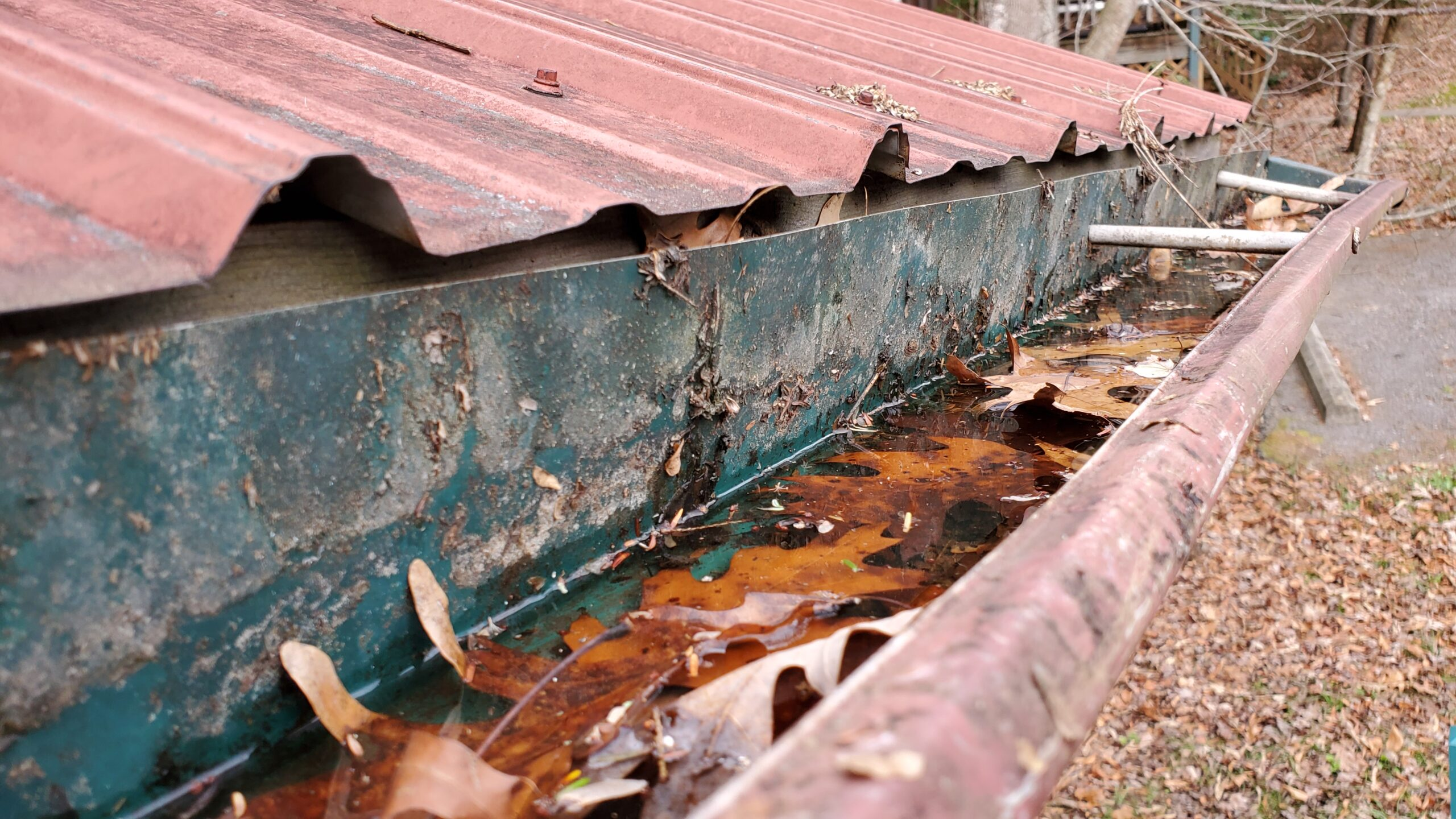 This is a picture of a old gutter thats full of leaves and water because is clogged