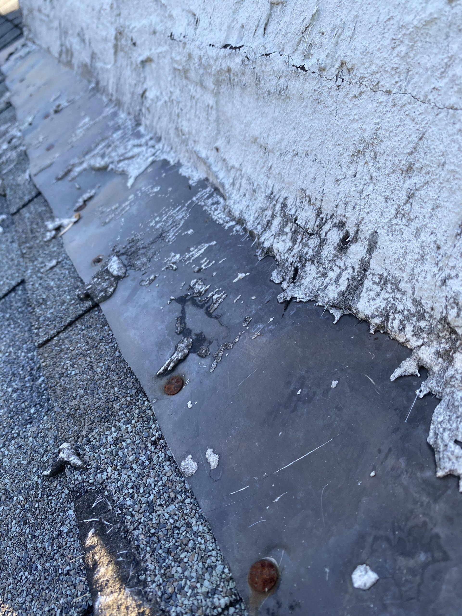 Exposed nails on chimney flashing