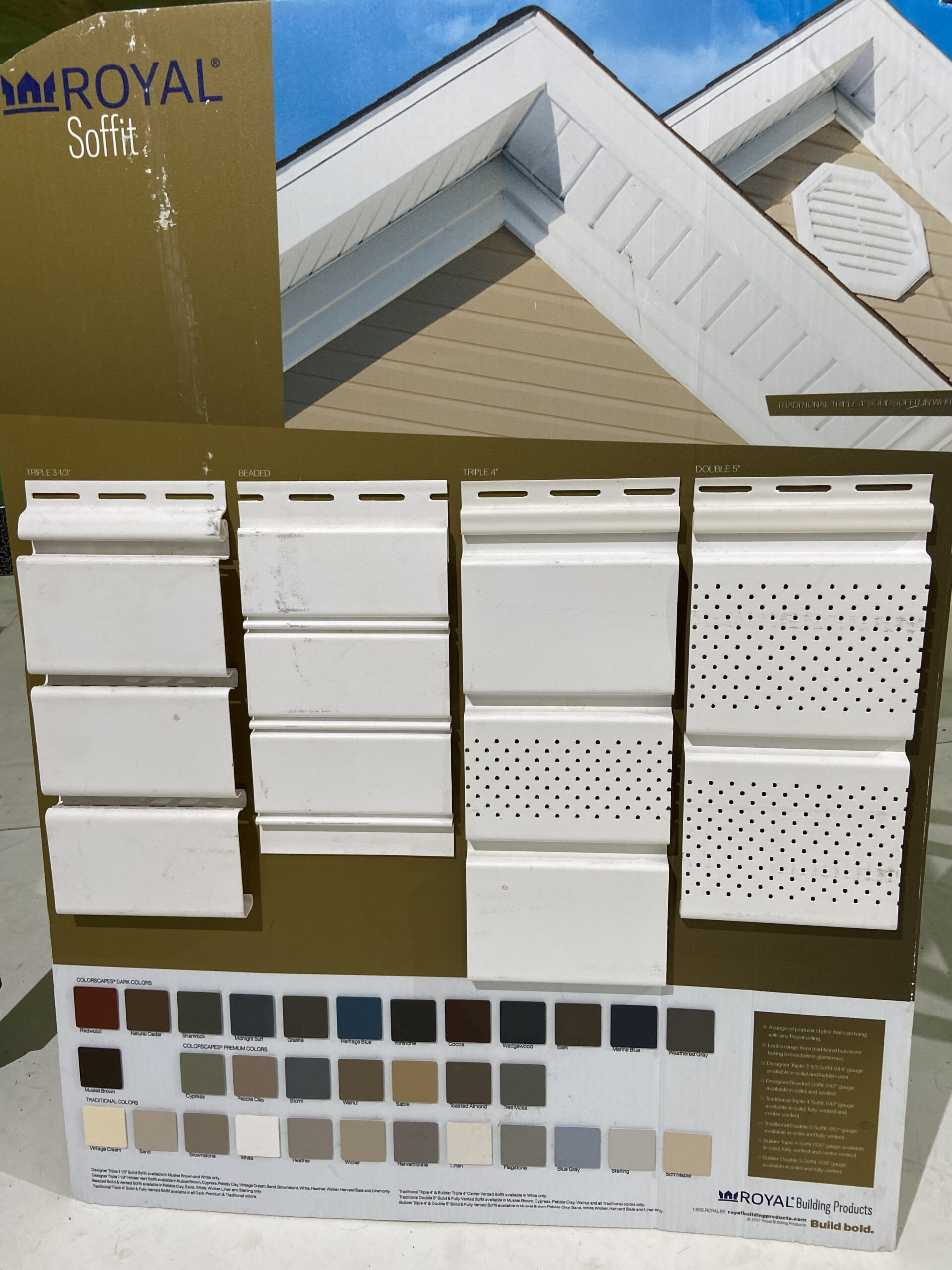 This is a picture of a vinyl soffit sample board