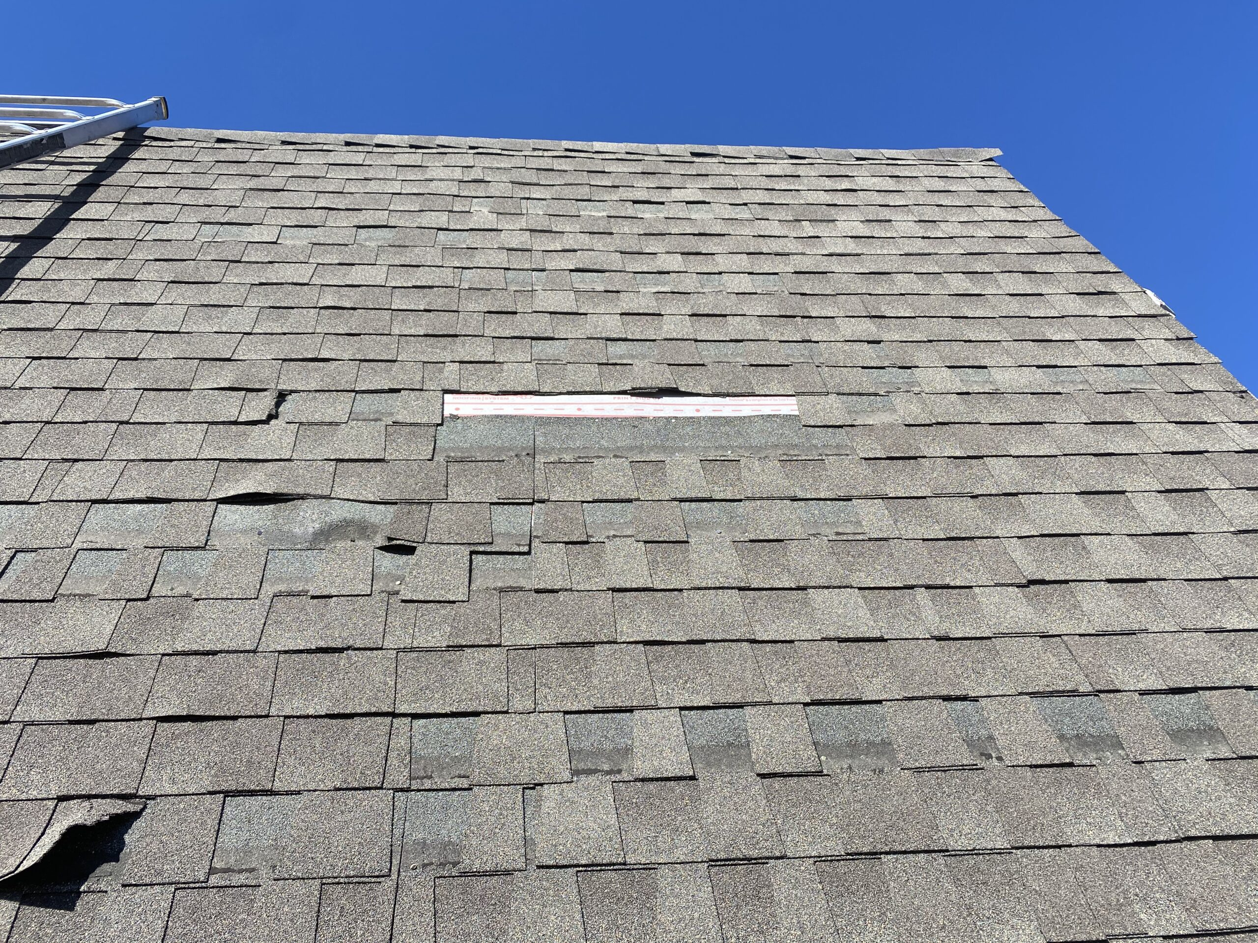 This is a picture of shingles that are missing