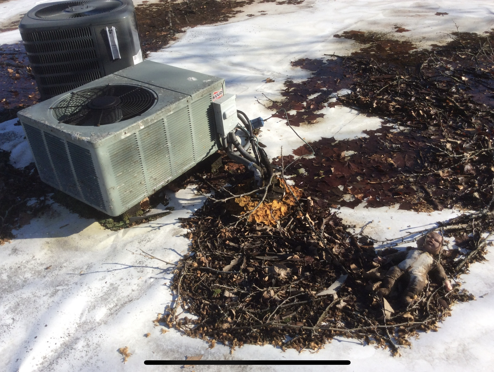 Leaves and debris is gathered around penetrations around HVAC lines and piled up on seams can eventually cause problems as it holds water