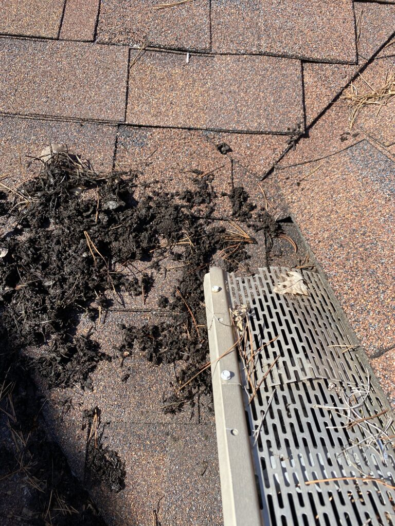 This is a picture of black debris that has collected in an almond color gutter