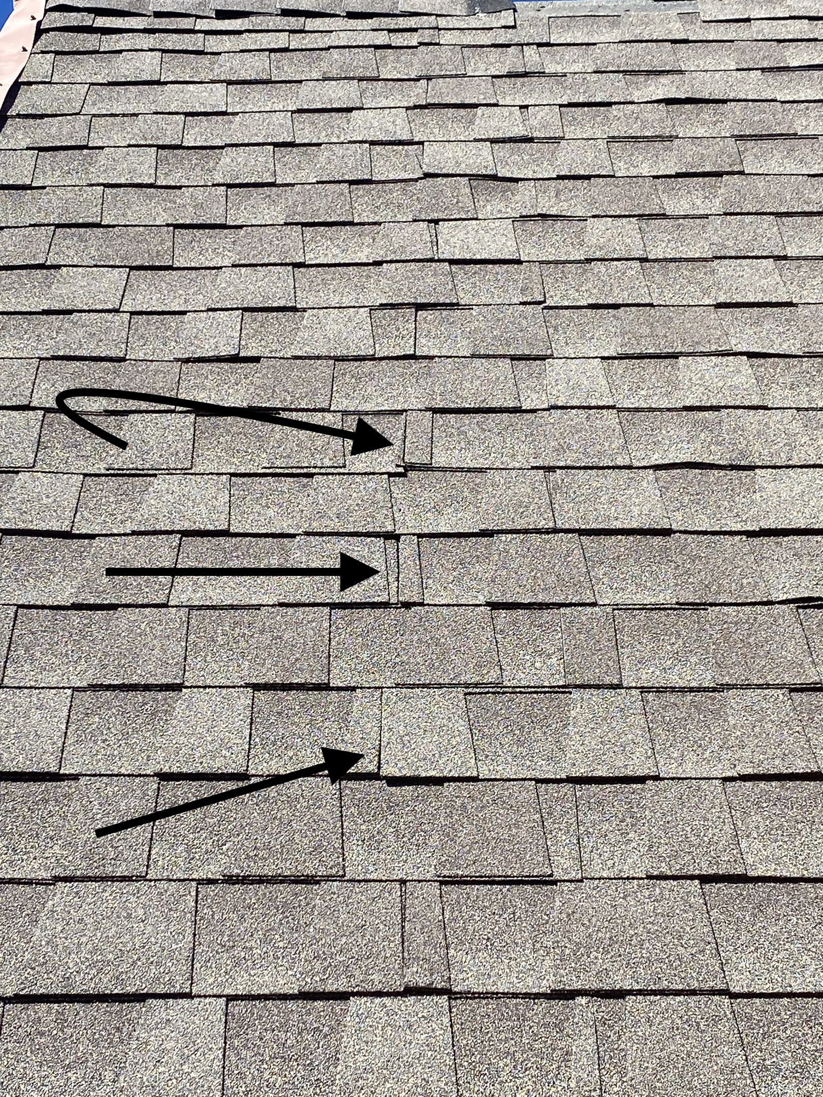 This is a picture of shingles that were not staggered correctly