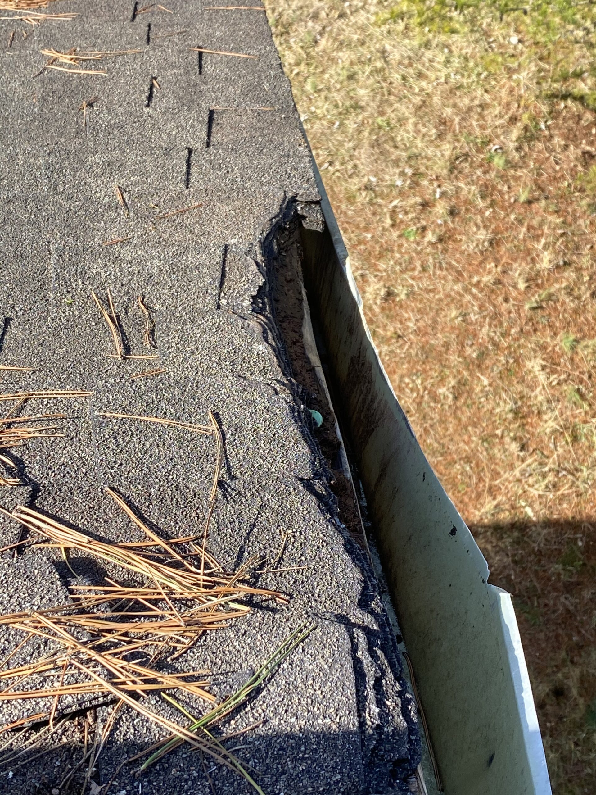 This is a picture of damaged  shingles and fascia metal