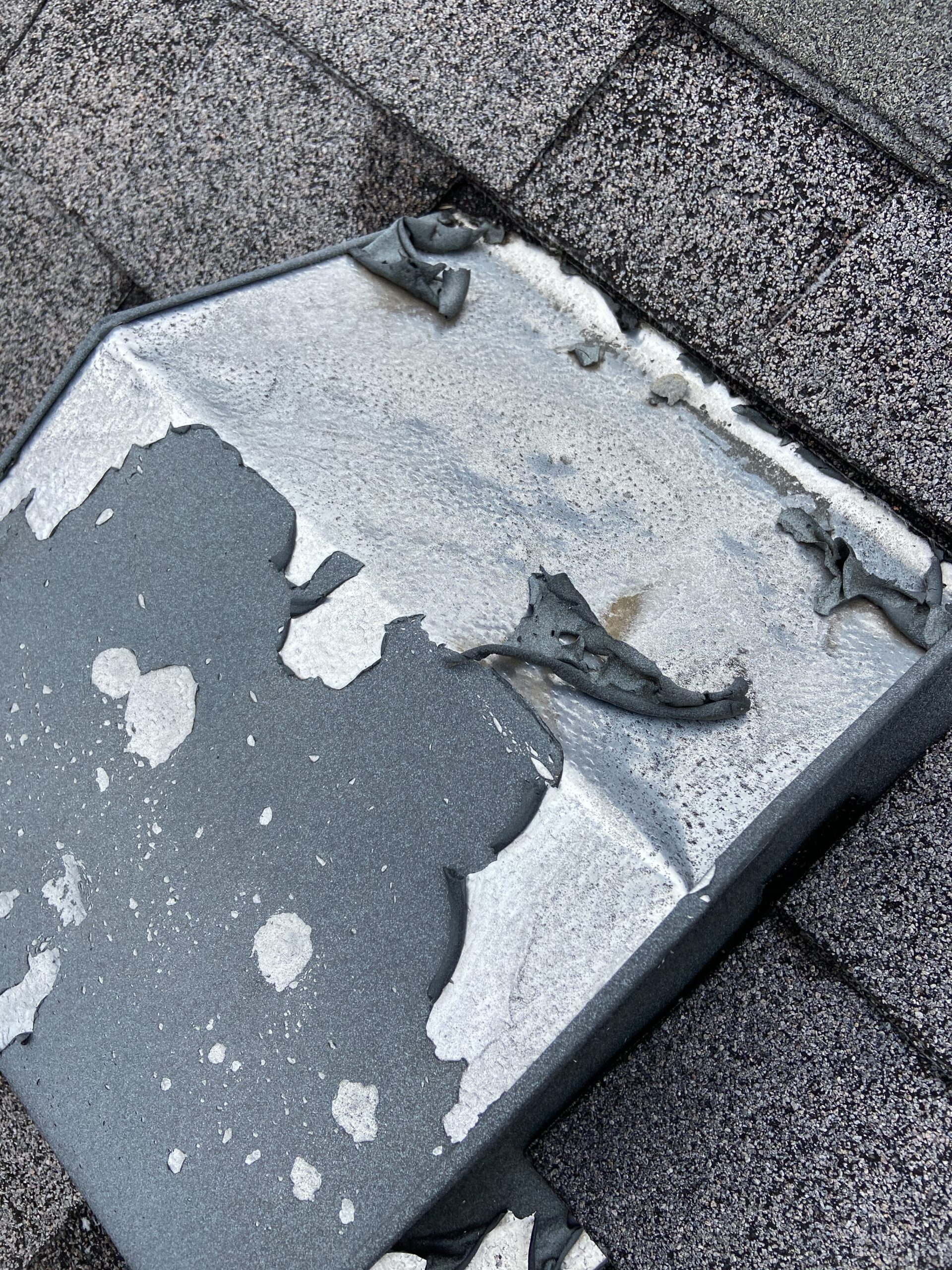 Hail damage roof vent in Dandridge Tennessee