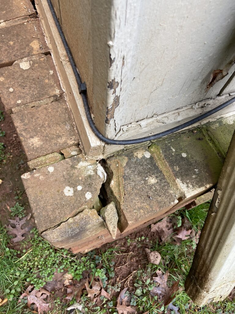 This is a picture of problems with brick on the foundation