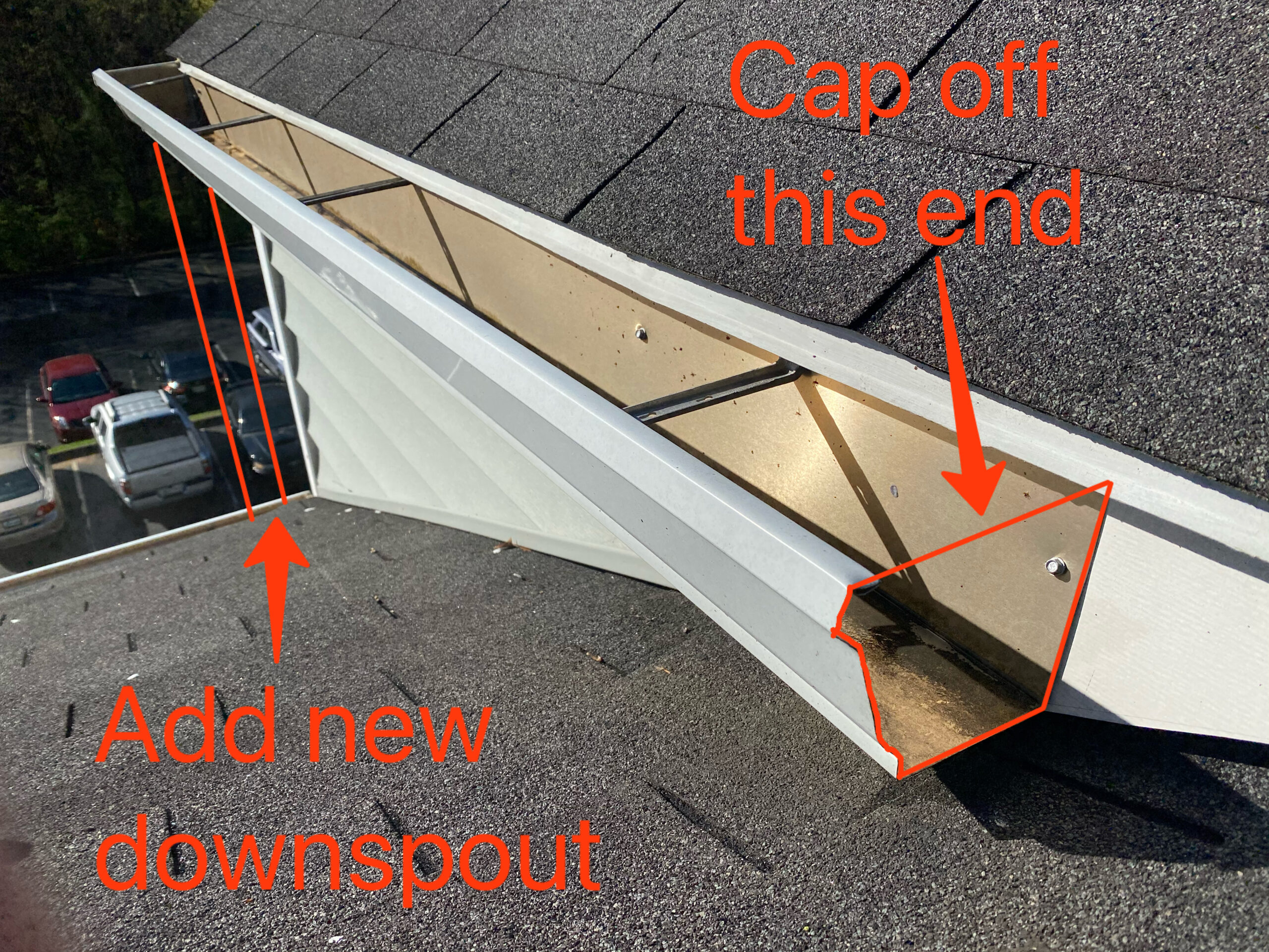This is a picture of a commercial roofer pier you can see clearly there is a gutter and roof leak.