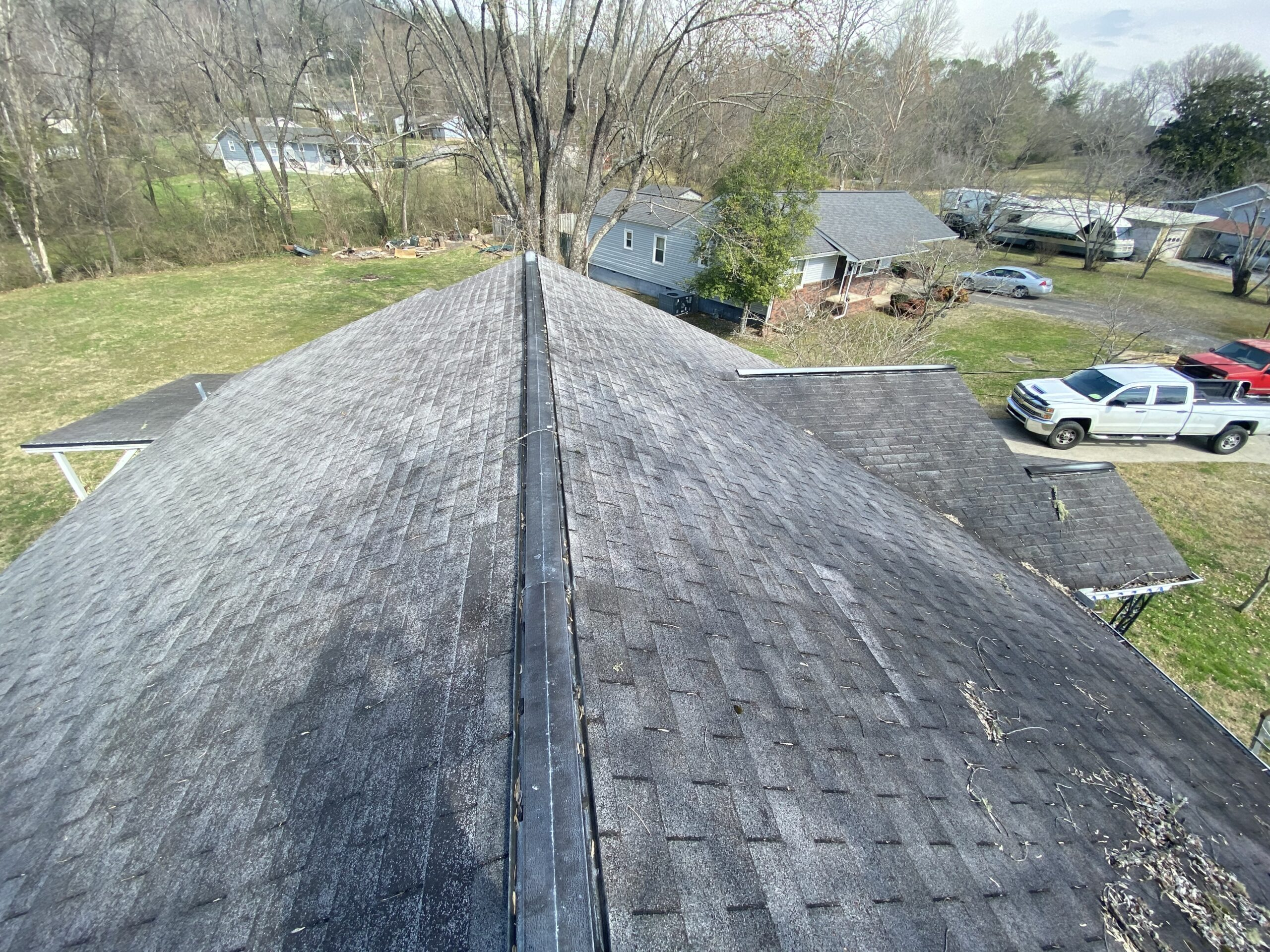 This is a picture of an old black three tab roof