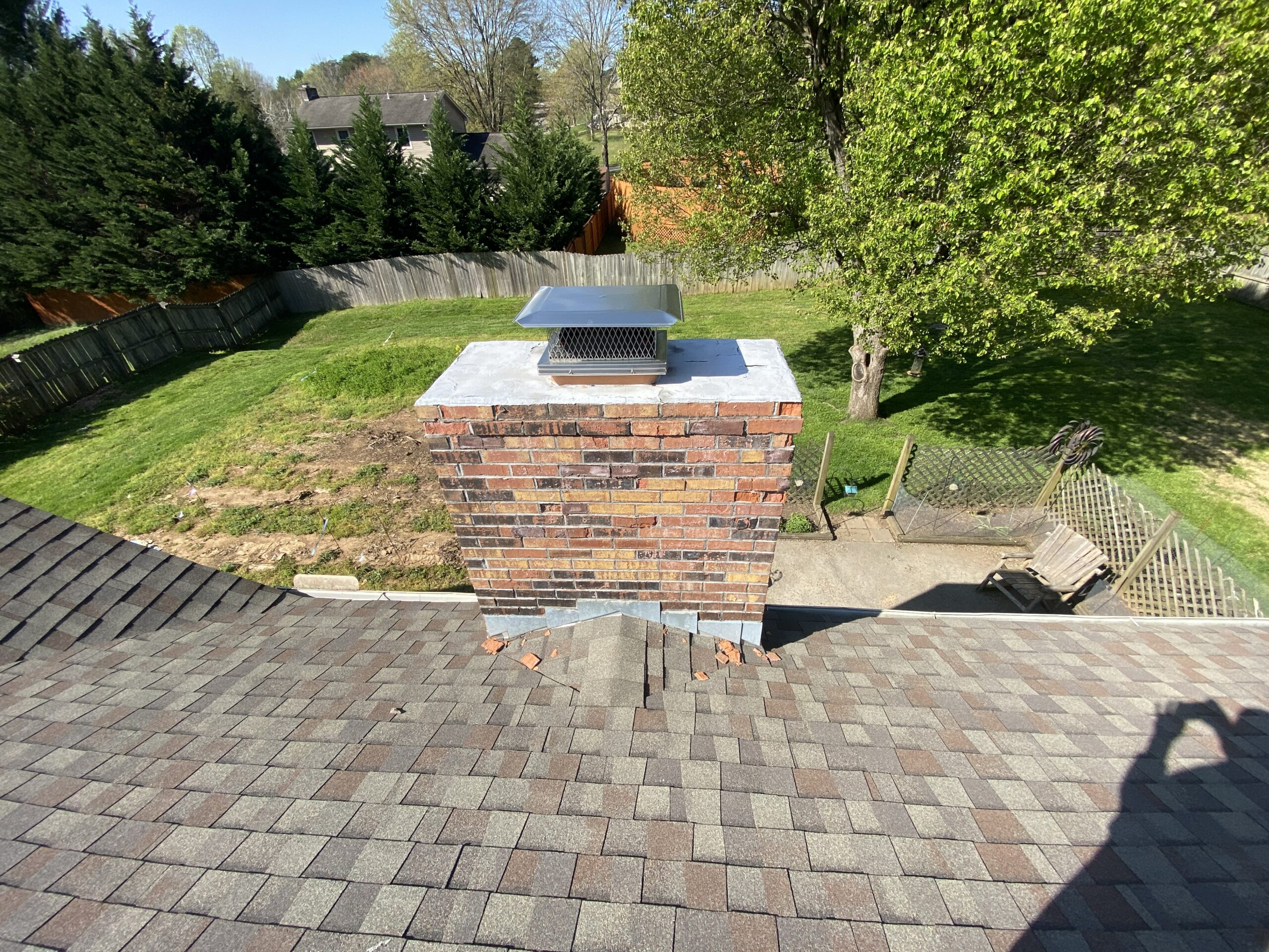 This is a picture of a brick chimney with leak issues