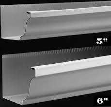 This is a picture of a comparison between 5 and 6 inch gutters
