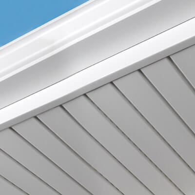 This is a picture of new white soffits with hidden vents
