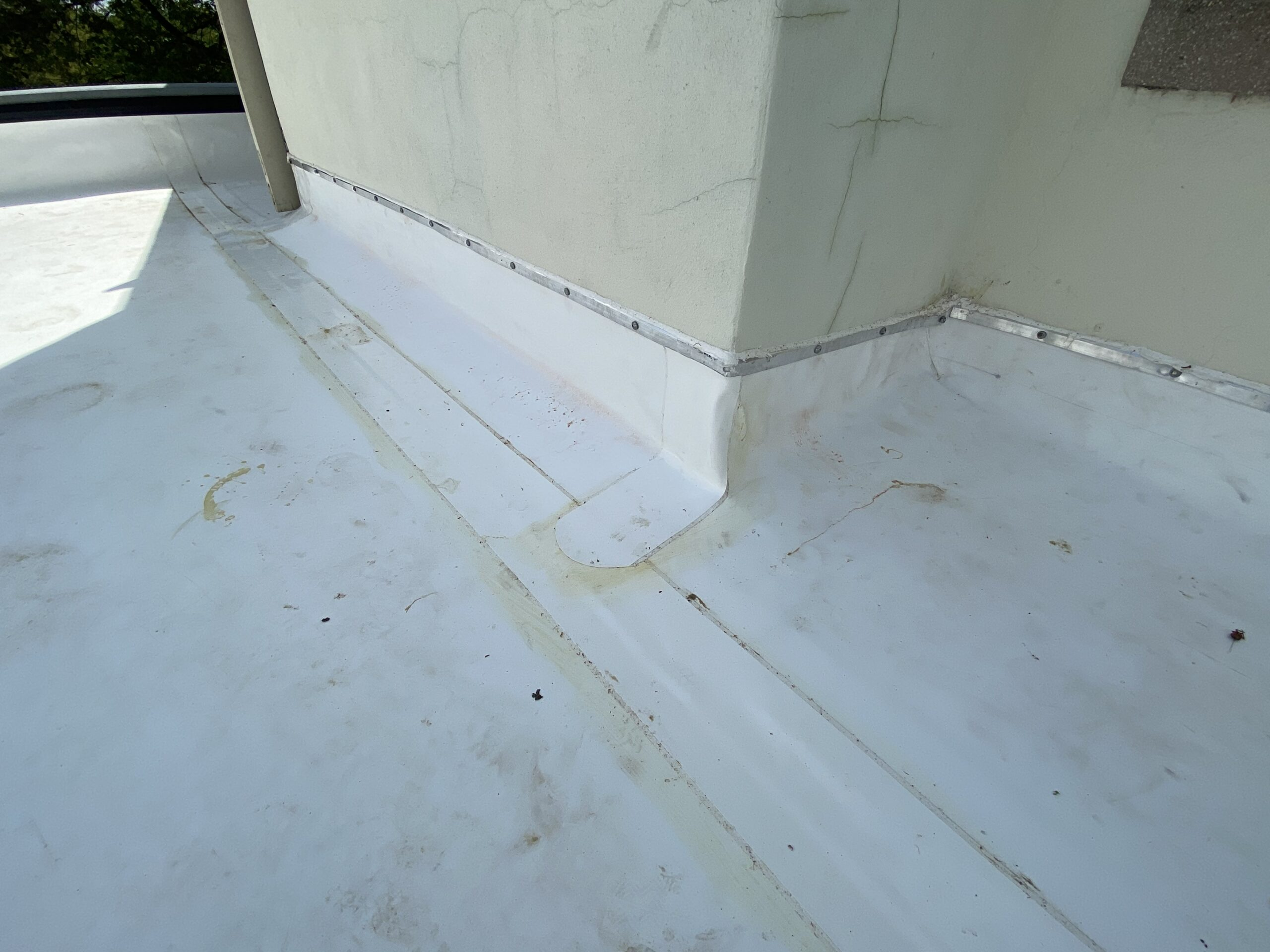 This is a picture of white tpo flat roof with t bar