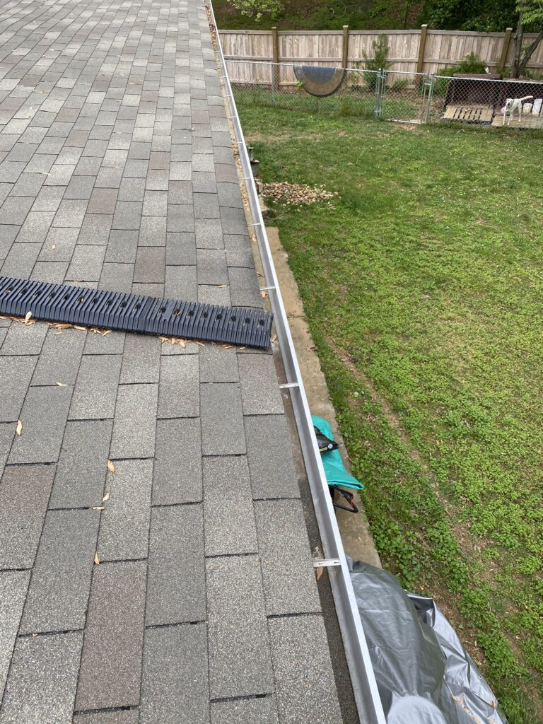 This is a picture of an old white gutter