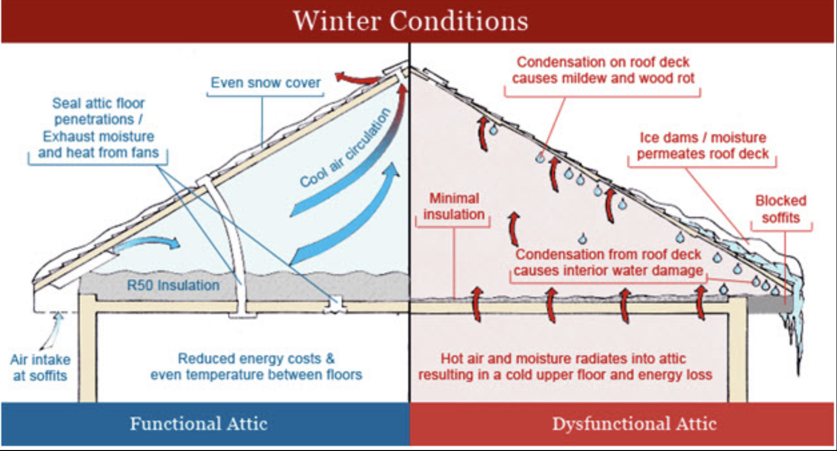 Illustrated diagram of proper insulation an roof and attic ventilation