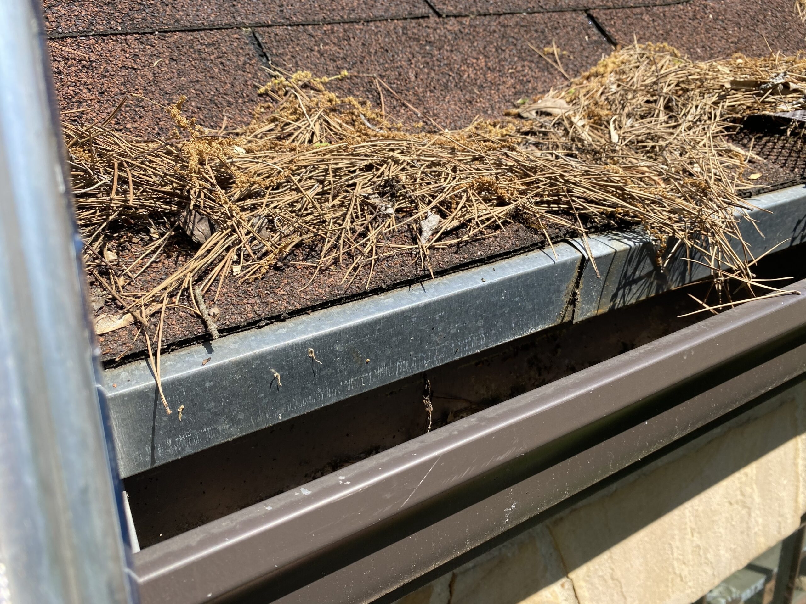 This is a picture of big drip edge that covers half of the gutter