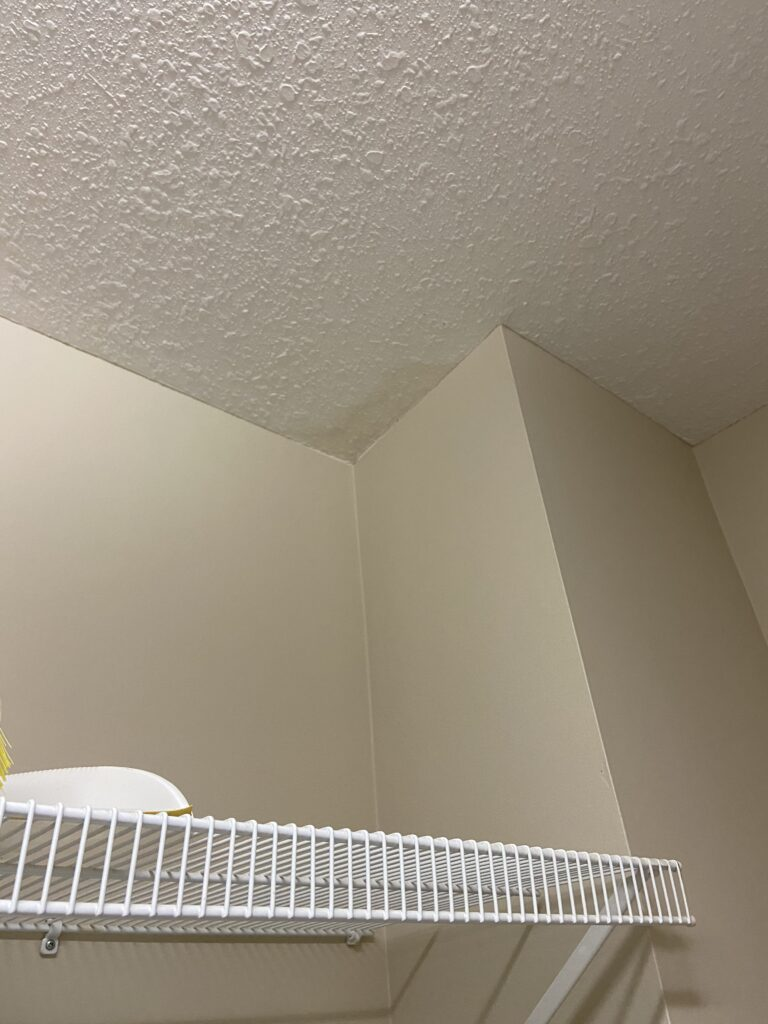 Leak number 3 shows where water has damaged the inside of the apartment. Drywall showing signs of aging.