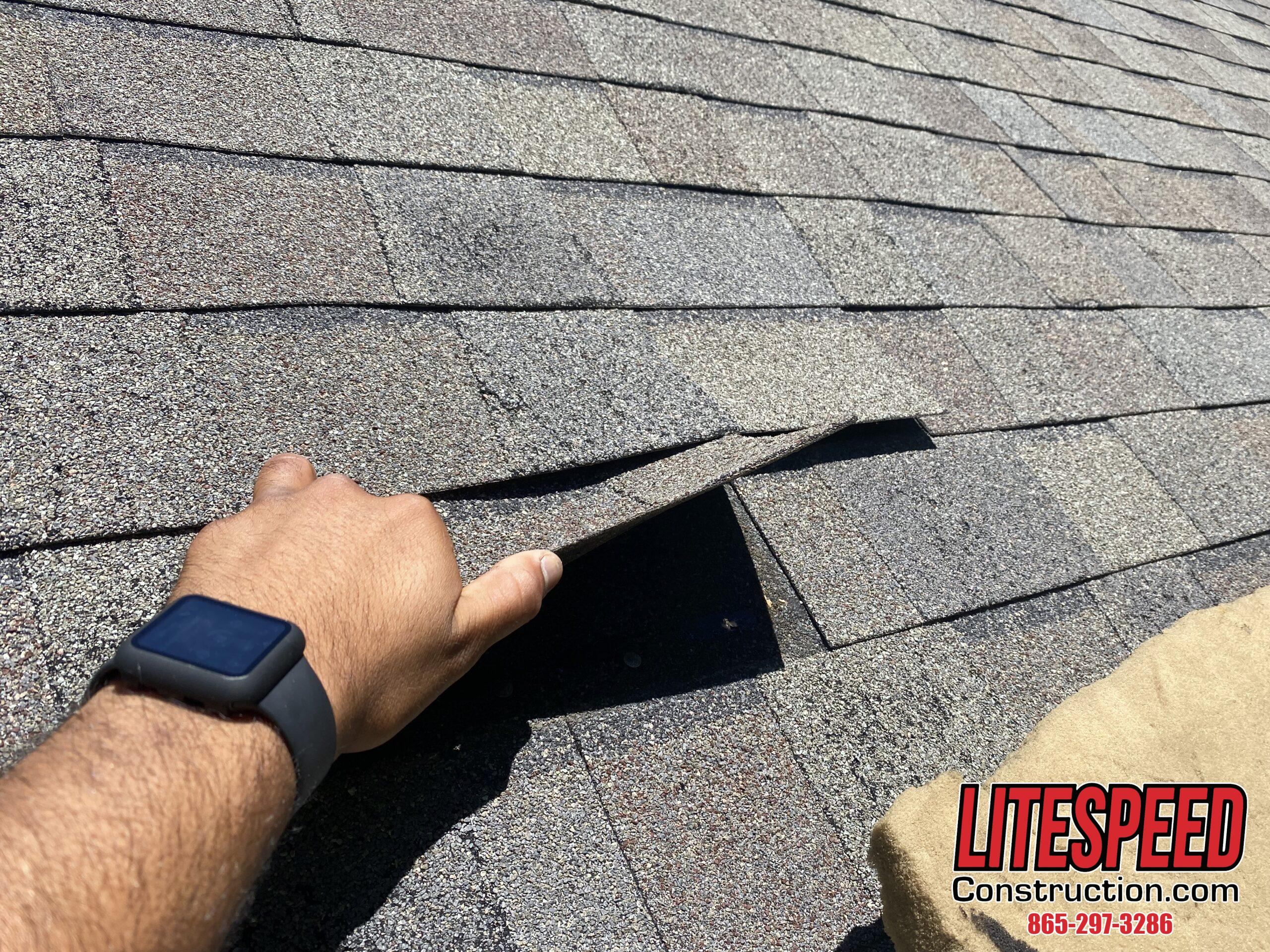 This is a picture of a shingle that can easily be pulled up