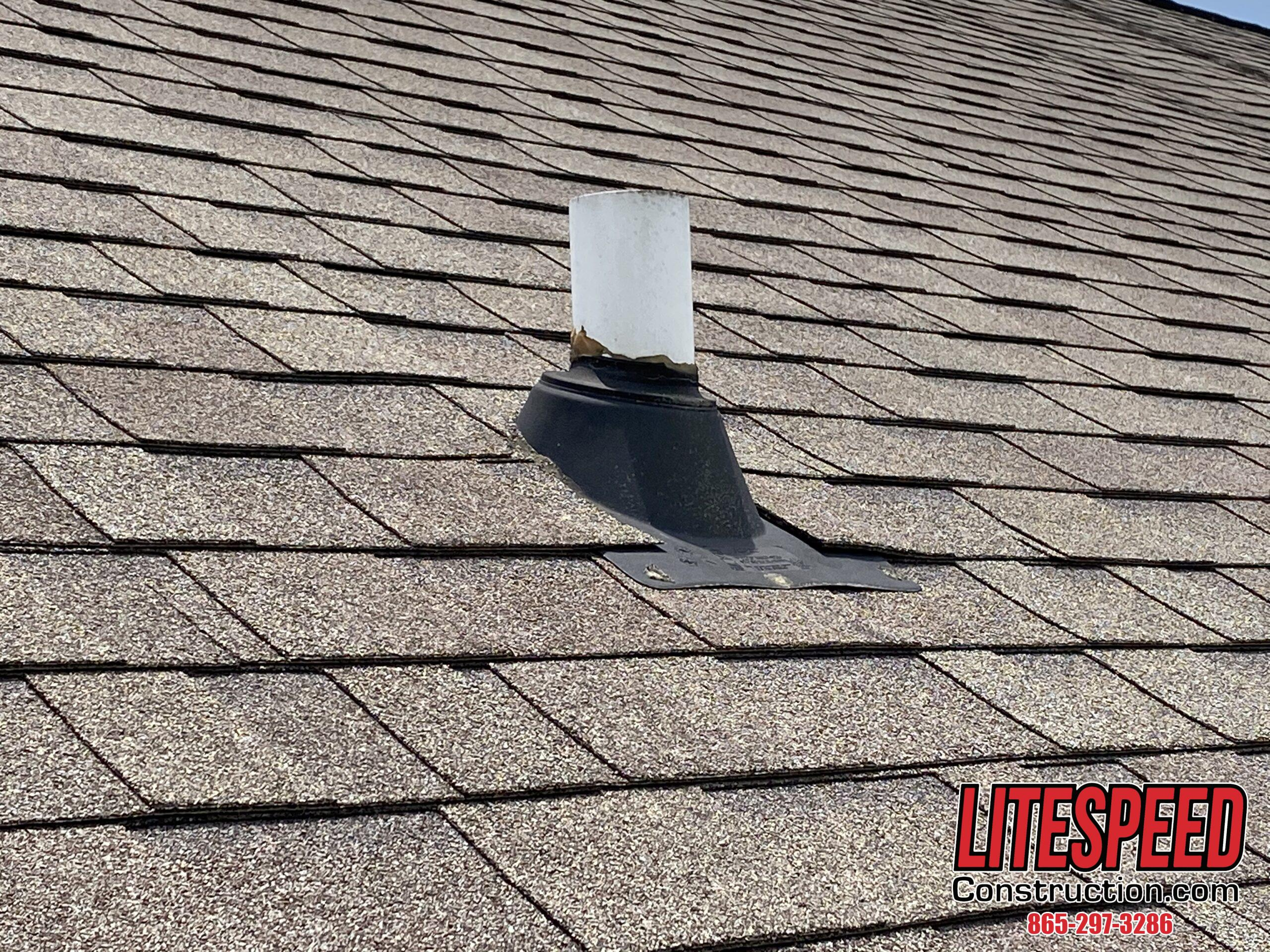This is a picture of a pipe boot on a steep roof