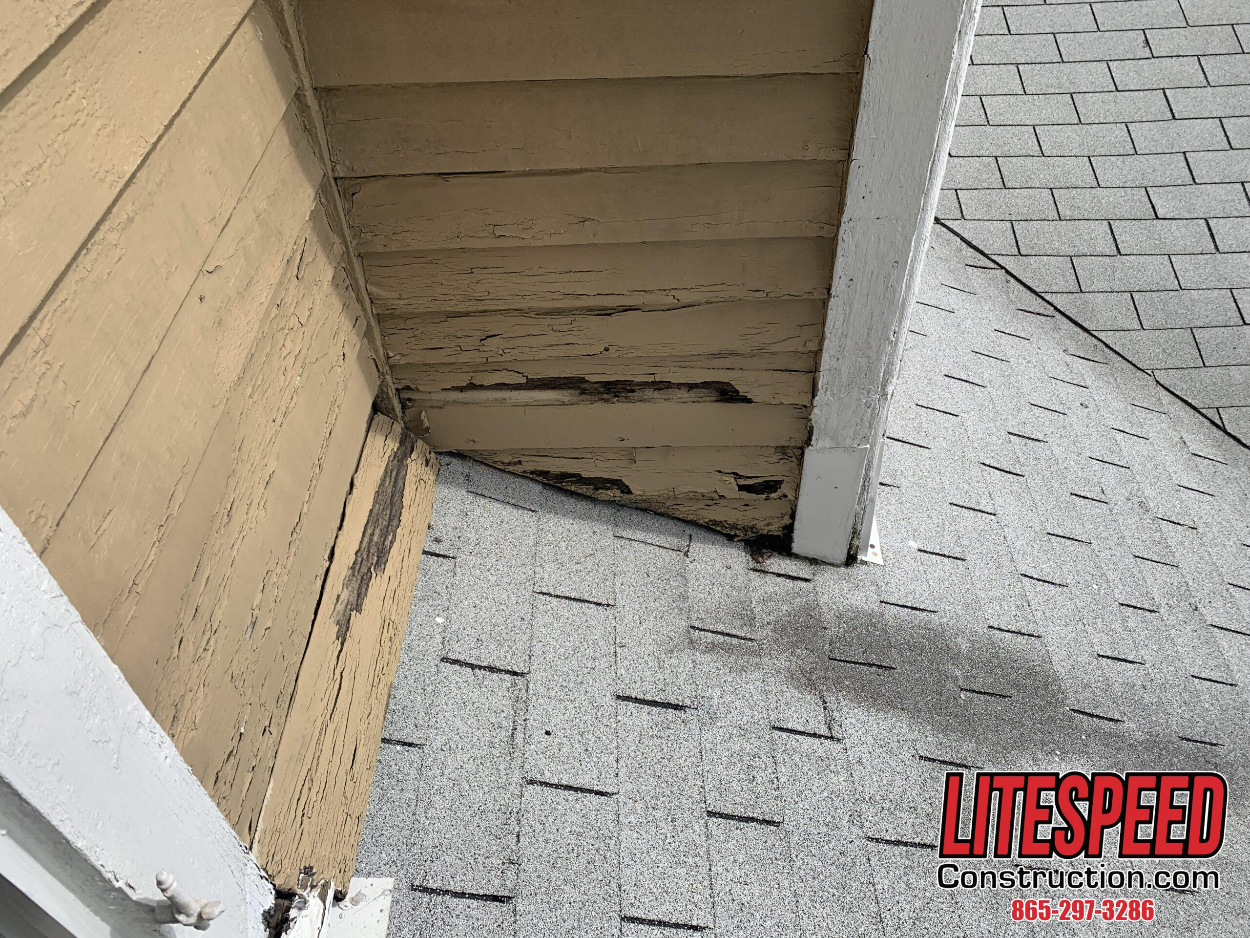 Bad siding where fascia meets the wall.  This will need new step flashing and siding repair