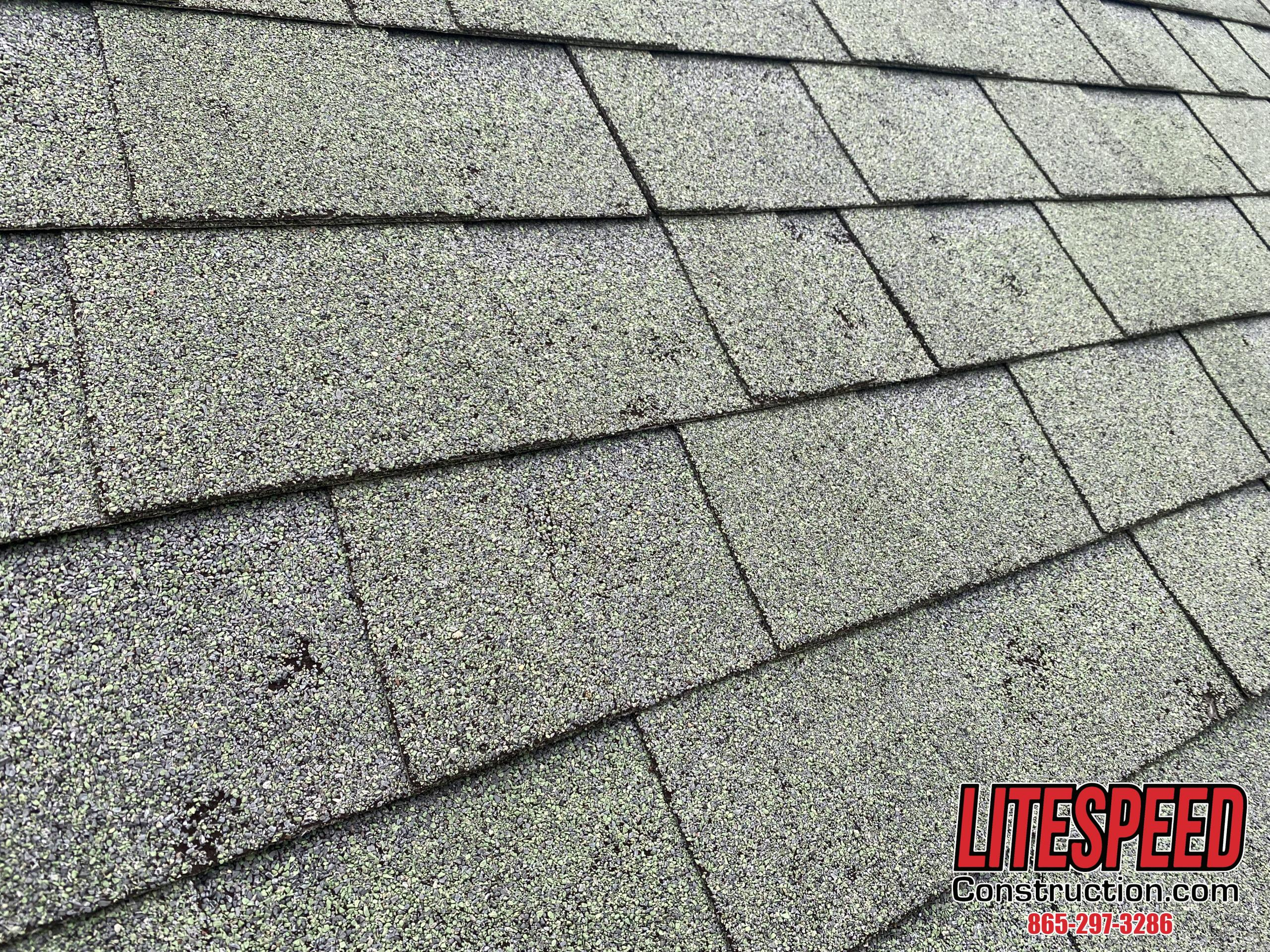 This is a picture of a green shingle with hail damage all over the roof.