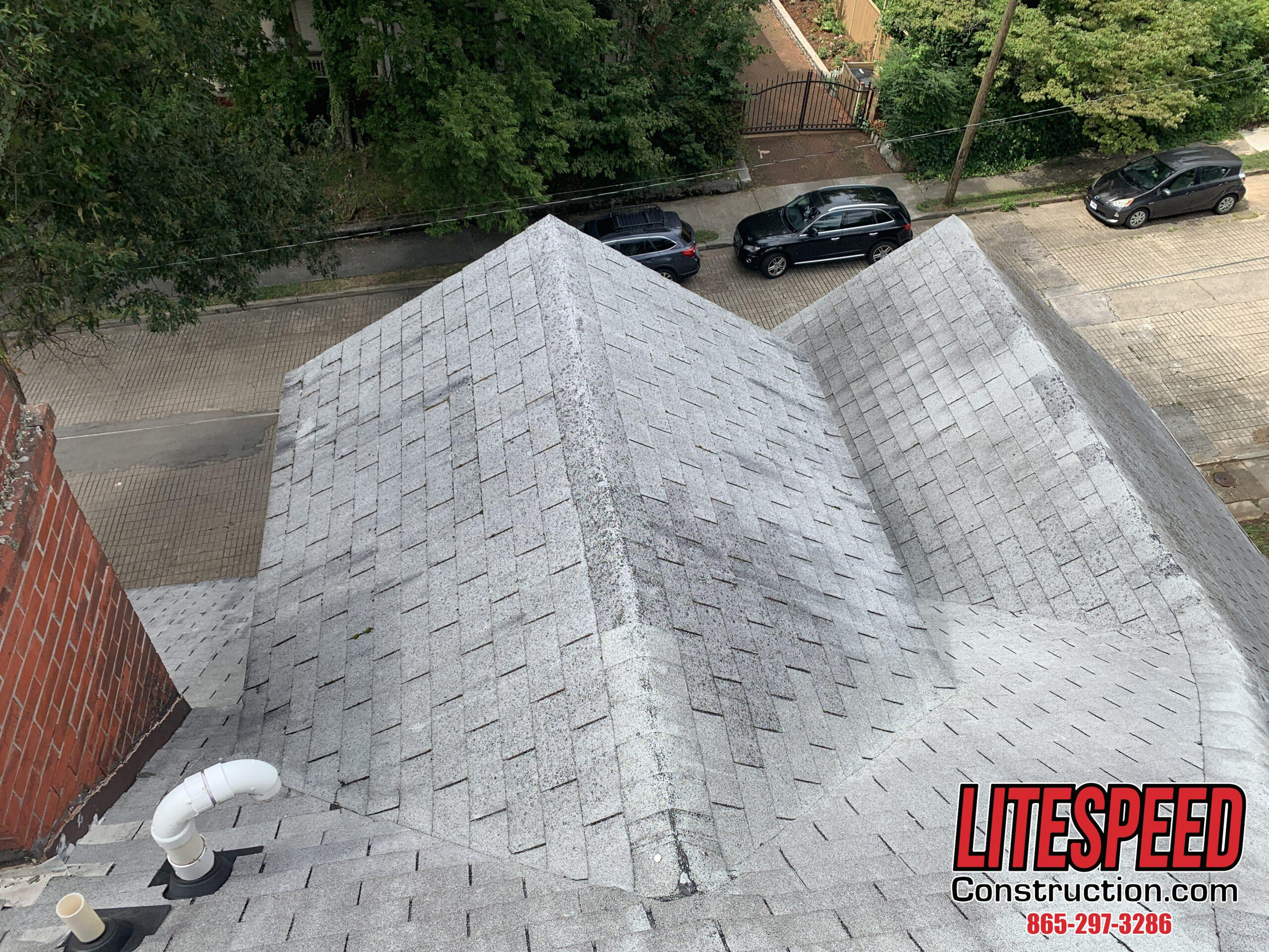 This roof is steep and cut up.  There are over 35 facets