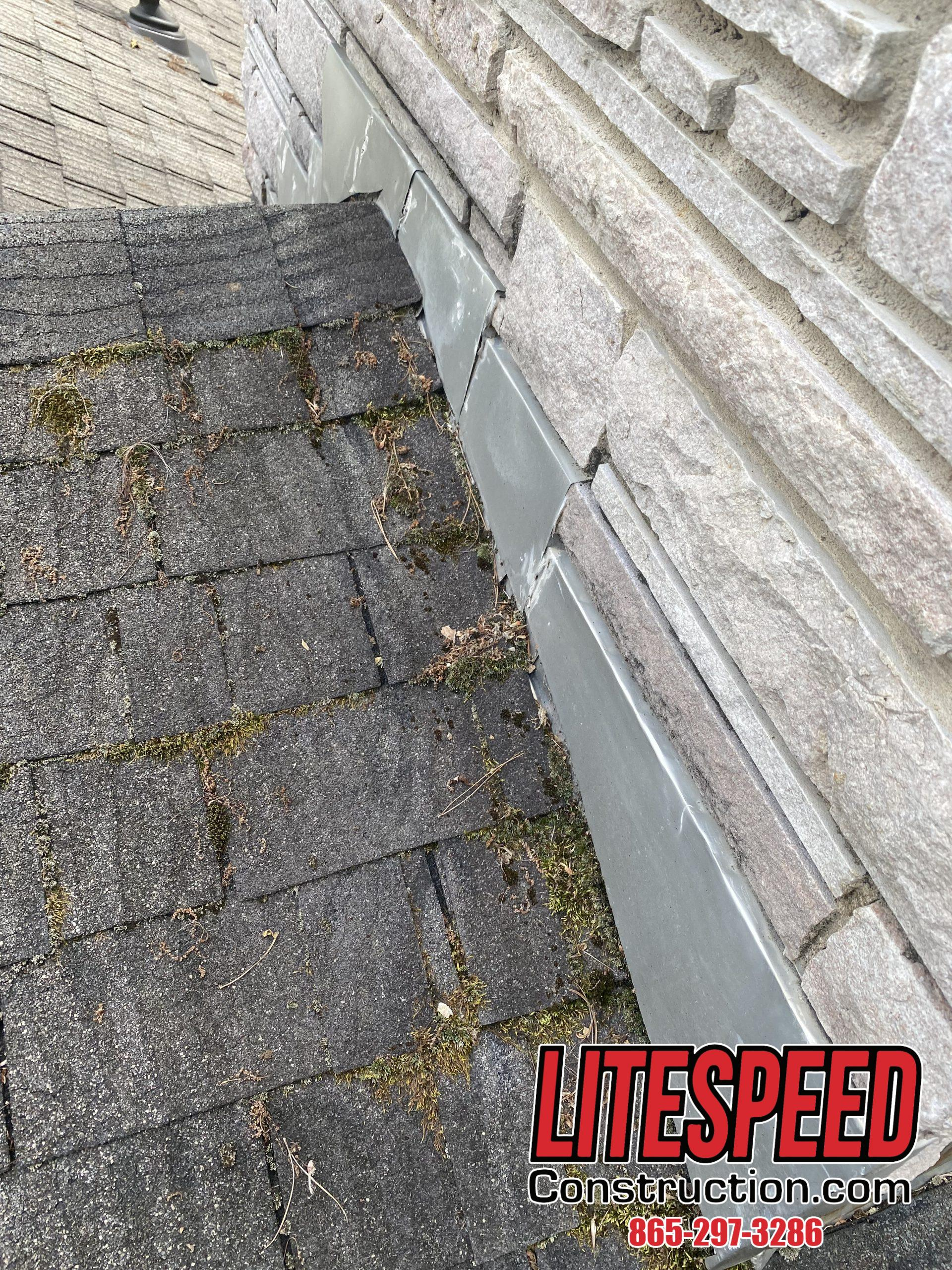 This is a picture of a chimney missing counterflashing