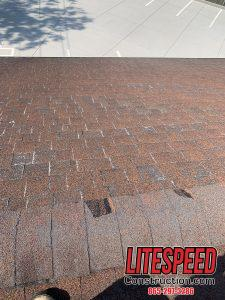 There are sliding shingles that have come off.