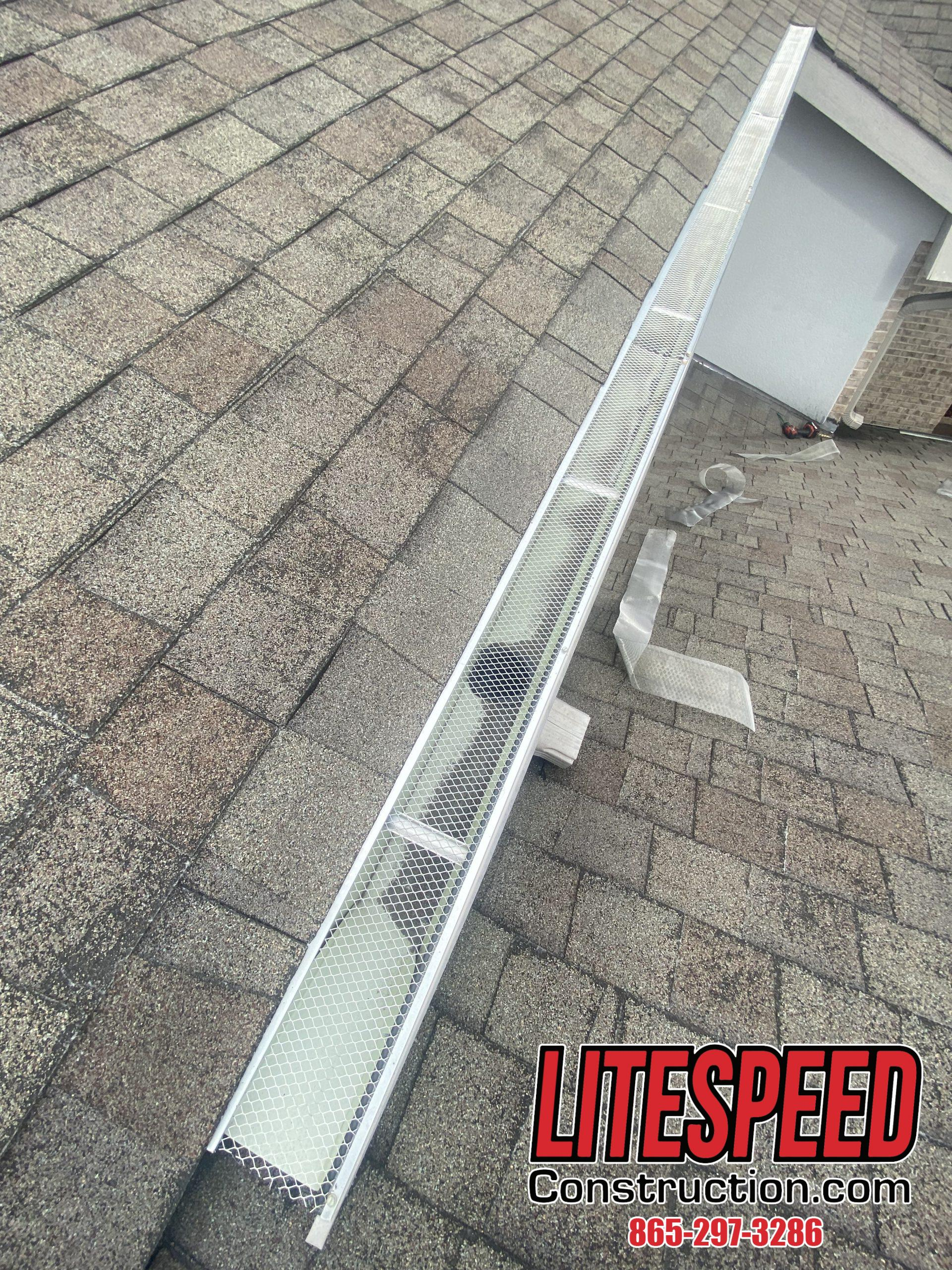 This is a picture of gutters with wire gutter guards