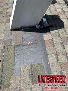 Old chimney flashing removed